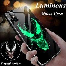 Marvel Venom Batman Iron Man Luminous Glass Phone Case For