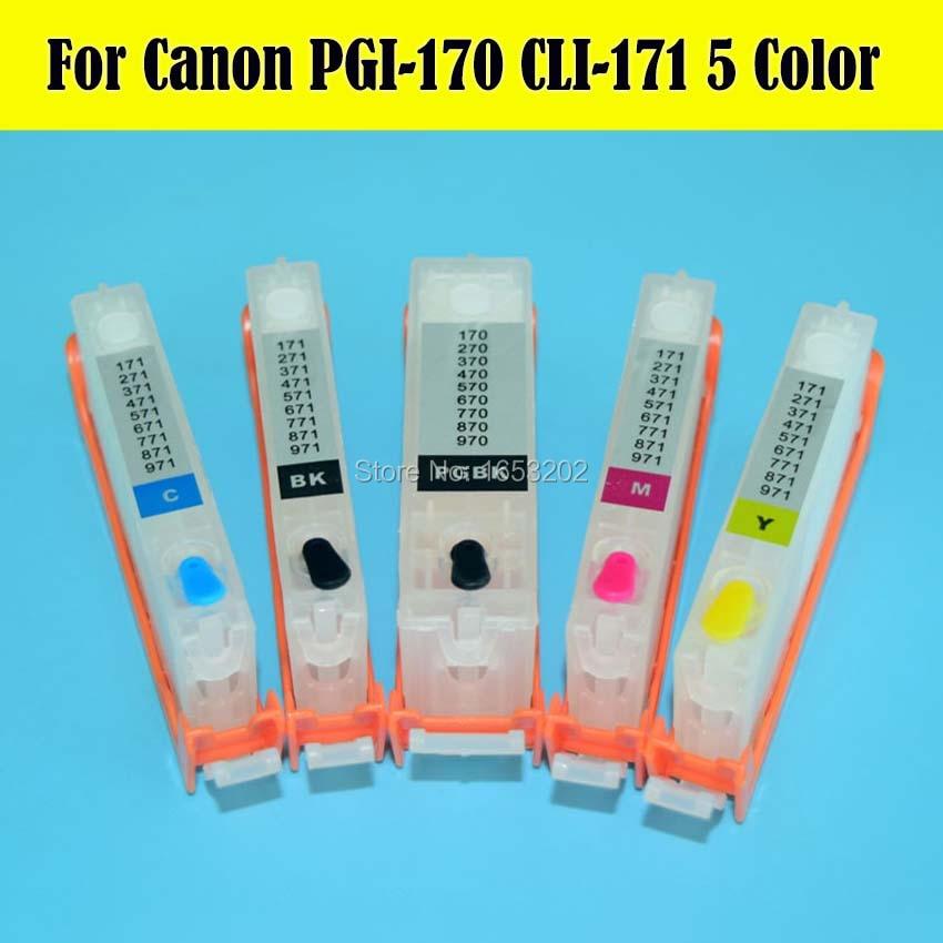 5 PCS/Lot 170 171 PGI170 CLI171 Ink Cartridge With ARC Chip For Canon PIXMA MG5710 MG6810 Printer