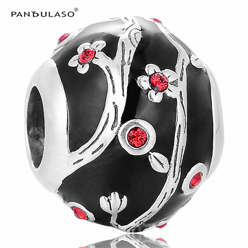 Chinese Plum Flower Black Enamel Beads Fit Pandora Charms Bracelet New Original 925 Sterling Silver Beads