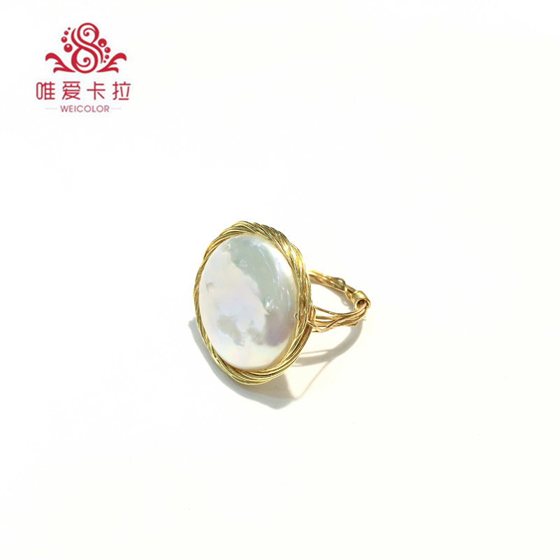 WEICOLOR DIY Design Handmade Ring.18 22mm Good Natural Freshwater Coin Pearl on Gold Mixed. Contact for Size in Diameter. - 1