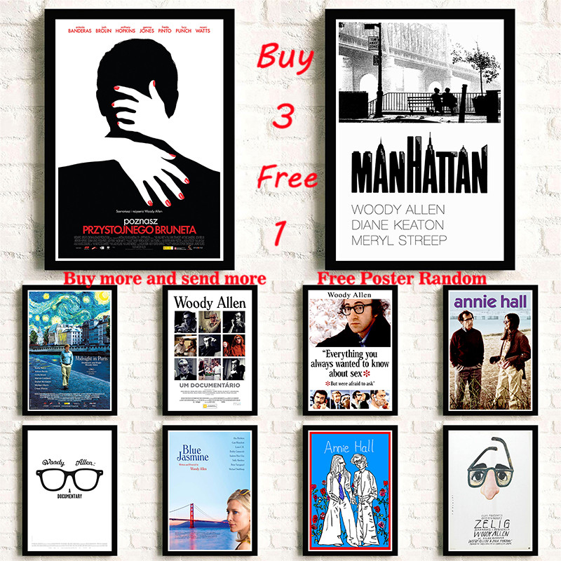 Woody Allen White Coated Paper Movie Poster Wall Sticker Home Decora wall sticker Frameless image