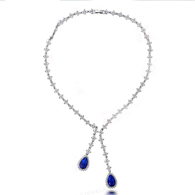 Sterling Silver 925 Pendant Necklace For Women Fine Jewelry Blue Spinel Link Chain Wedding Engagement Party Valentine Gift csj green agate pendants 925 sterling silver engagement necklace for women wedding party gift fine jewelry