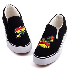 Image 3 - E LOV Creative Pop Art African Country Ghana Flag Customization Canvas Shoes Designer Ghanaian Platform Shoes Chaussures Femme