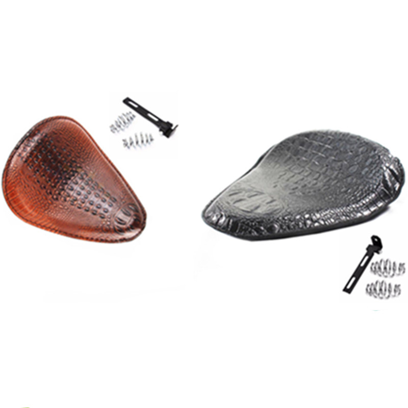 Motorcycle Brown /black Alligator Leather Solo Driver Seat 3