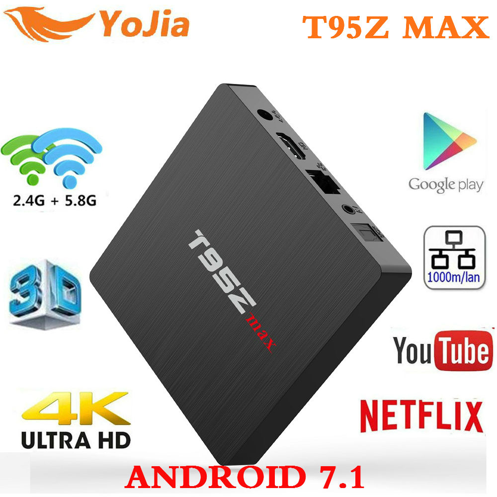 Smart TV BOX Android 7.1 T95z Max Amlogic S912 Octa Core 4K Set Top Box 3G/32G 2G/16G Dual WIFI T95z Plus Media Player PK X92 жемчужина капрера коллекция sipo кожаный чехол для sony xperia sp тип книжка