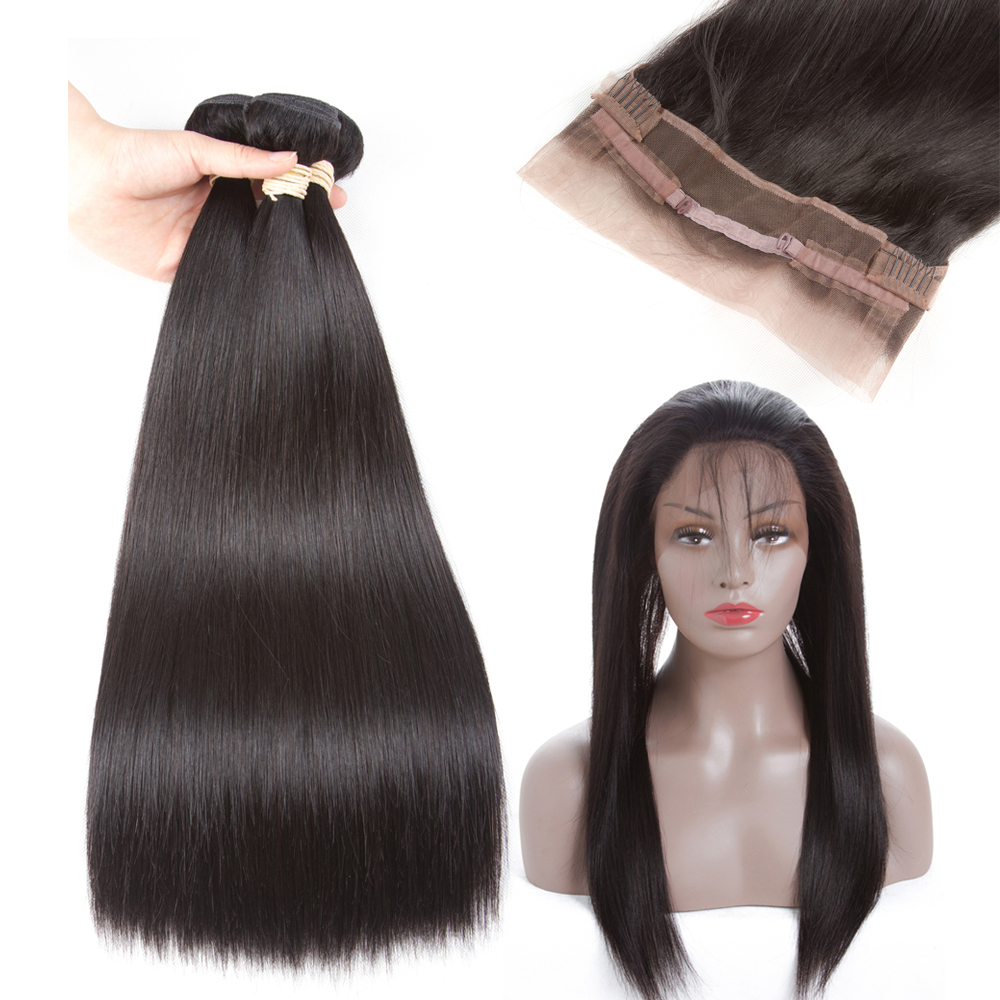 Ms Love Pre Plucked 360 Lace Frontal with Bundle Body Wave Indian Human Hair Weave 3 Bundles with Frontal Closure Non-remy