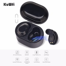 KuWFi TWS Bluetooth Earphones Mini Dual Work Earbuds Wireless Stereo Sport Waterproof Headset With Mic Charging Box a7 tws mini bluetooth earbuds sport stereo waterproof rechargeable box earphones wireless earbuds with mic headset for iphone