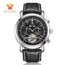 цена на OUYAWEI mechanical automatic watch men army wrist watches for men 22mm leather skeleton business men watch mechanical Tourbillon