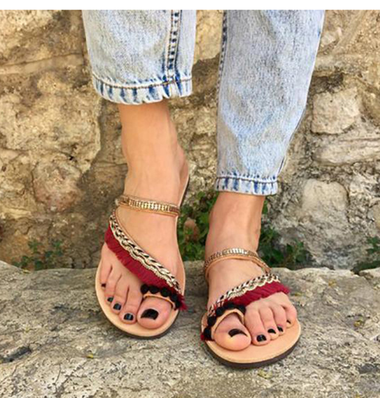 7027cb495 Omen Flat Shoes Sandals Ladies Nylon Rope Flip Flops Sandal Summer Shoes  Woven Strap Fashion Outdoor Beach Shoes