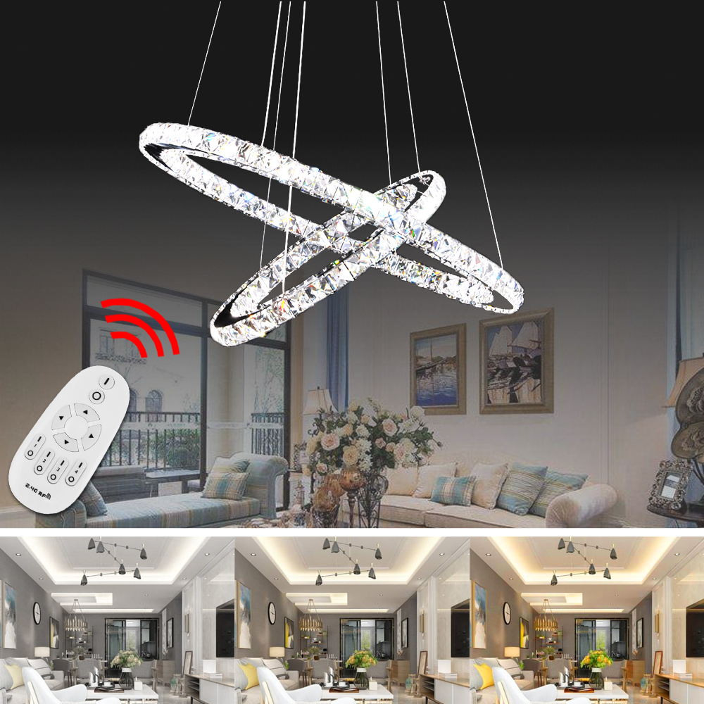 92W LED Pendant Lamp Modern Pendant Light Dimmable Three Color Change Indoor Decor Living Room Bedroom Remote Control