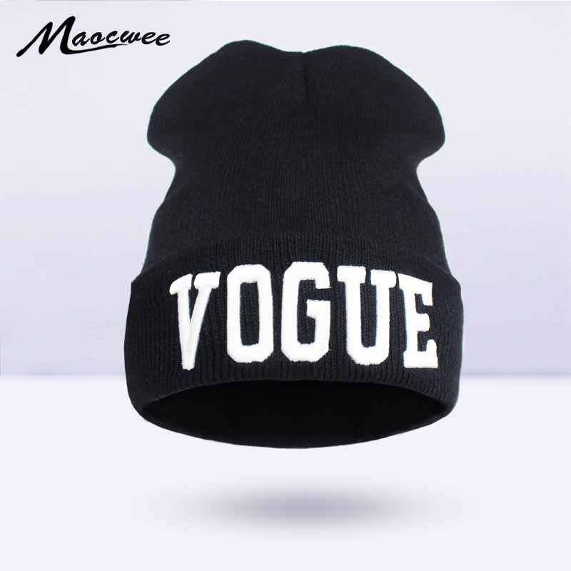 2017Brand Letters Embroidery VOGUE Couple Cap   Skullies     Beanies   Winter Warm Hat Braided Soft Knitx Men And Women Hedging Cap New