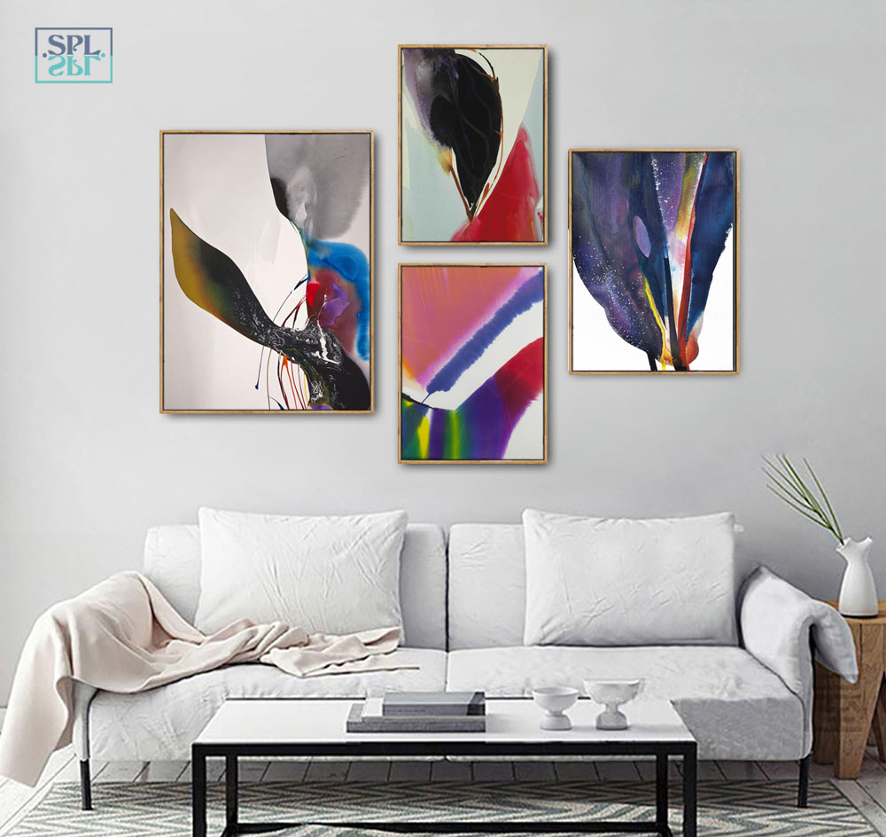Image 1 - Watercolor Canvas Art Print Ink Painting Abstract Chinese Graffiti Artwork Posters Modern Fashion Home Decoration Wall Pictures-in Painting & Calligraphy from Home & Garden