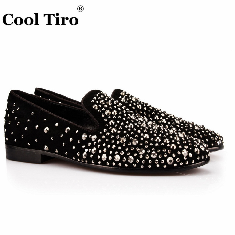COOL TIRO lack sheep suede wedding party men shoes super star with rhinestones flats slippers smoking Hot drilling free shoes