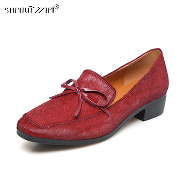 SHEHUIMEI 2018 New Women Flats Loafers Spring Fashion Oxfords Shoes Slip-on Handmade Woman Horsehair Black Casual Shoes Woman 2017 new handmade women flats genuine leather oxfords shoes woman fashion ballets flats casual moccasins for women sapatos mujer