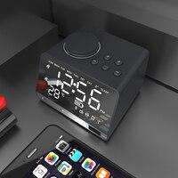 LED Digital Alarm Clock FM Radio Bluetooth Speaker with Dual USB Interface Charging Audio Music Tabke Clock Temperature Display
