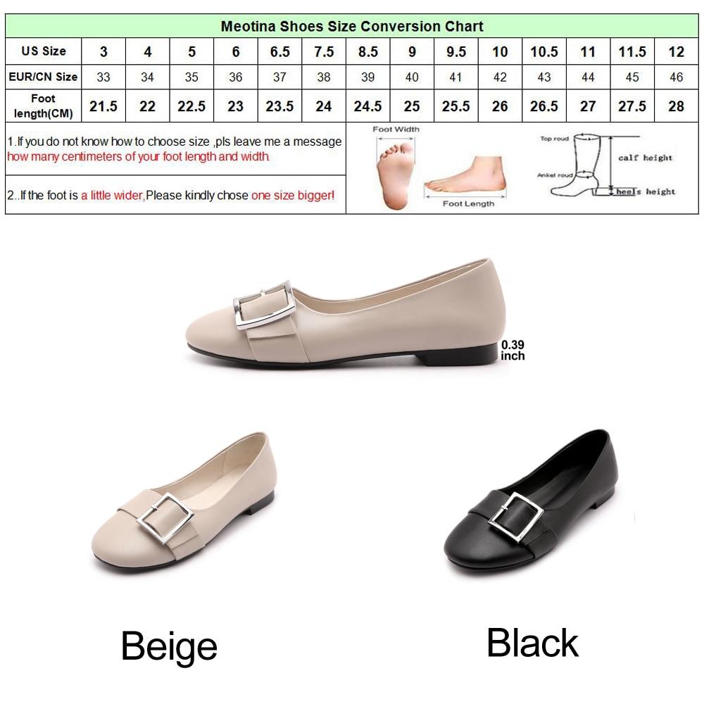 Meotina chaussures en cuir véritable femmes ballerines boucle bateau chaussures mocassins femmes en cuir de vache plat 2018 printemps chaussures noir - 6