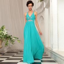 free shipping 2013 V-neck blue elegant long design costume female rhinestones special occasion dresses crystal bridesmaid dress