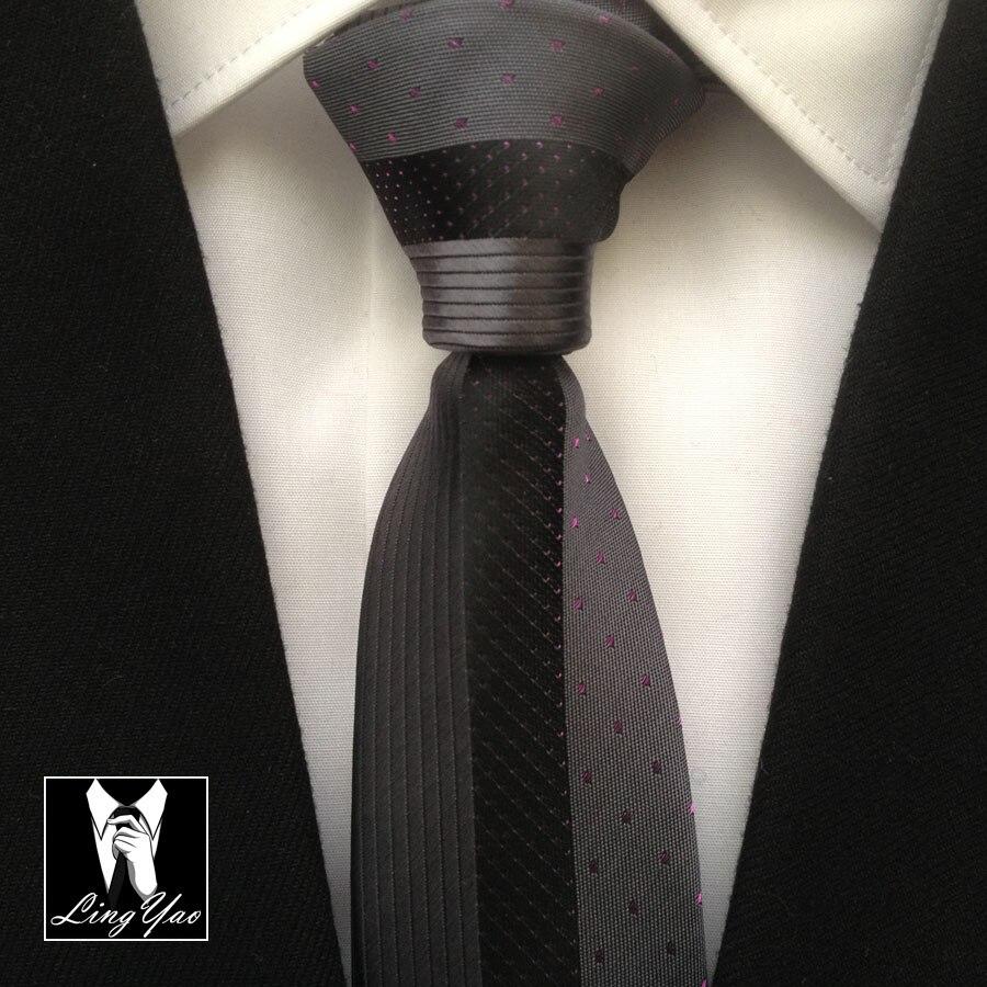 Уникальный Галстук lingyao, отличный галстук для жениха, Свадебный серый с черными полосками и точками в подарочной коробке - Цвет: Only Ties