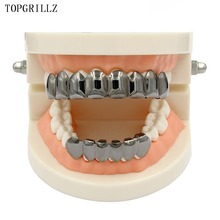 TOPGRILLZ 8 Teeth Rose GOLD PLANTING Top&Bottom Grillz Bling Mouth Caps Hip Hop Gold teeth Grills for Gift