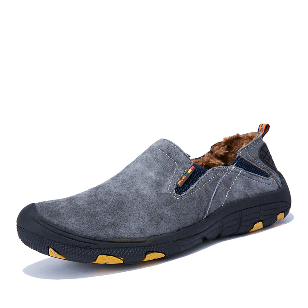 Suede Leather Mens Winter Snow Slip on Casual Shoes Men