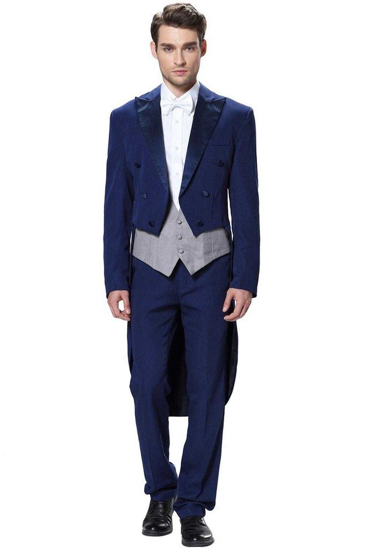 2017 Sosire Noua Navy Blue Tuxedo pentru barbati cu trei piese 2016 - Imbracaminte barbati