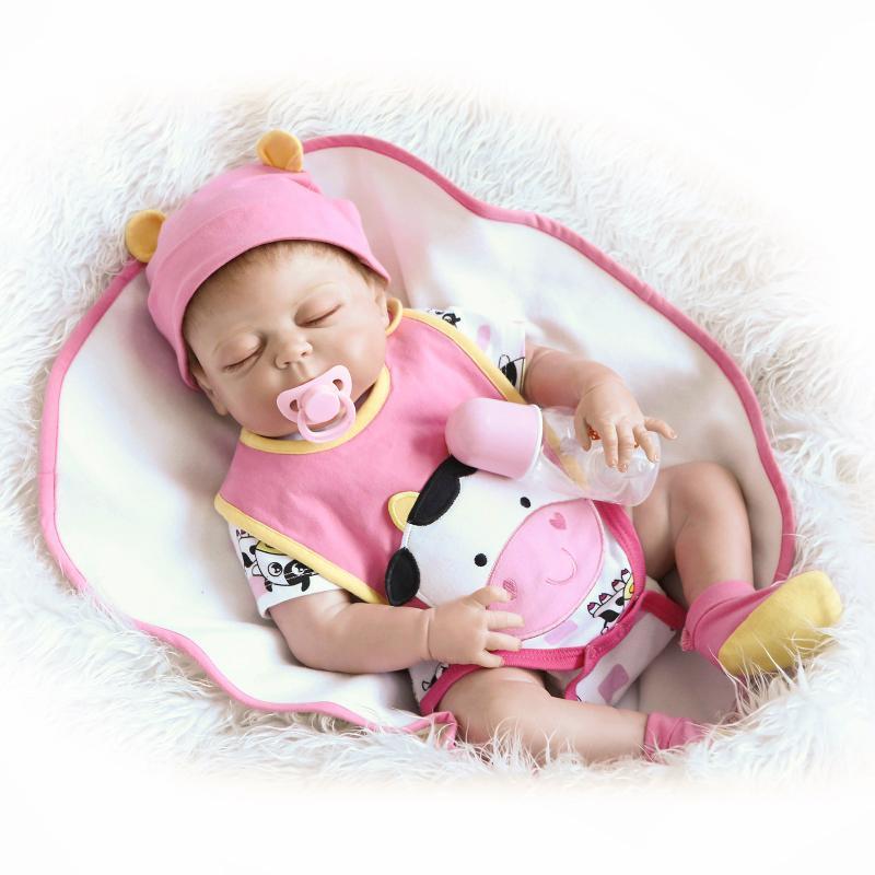 full Silicone Vinyl Dolls 57cm Doll Reborn Baby Brown Wig Girl Handmade Cotton Body Lifelike Bebe juguetes Babies Toys