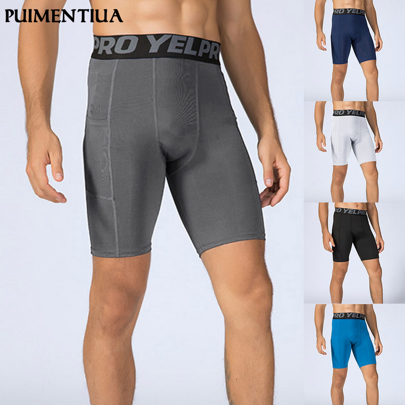 Puimentiua 2019 Mens Compression Shorts Line Short Tights Skinny Bodybuilding Breathable Men Bottom Fitness Sports  Shorts