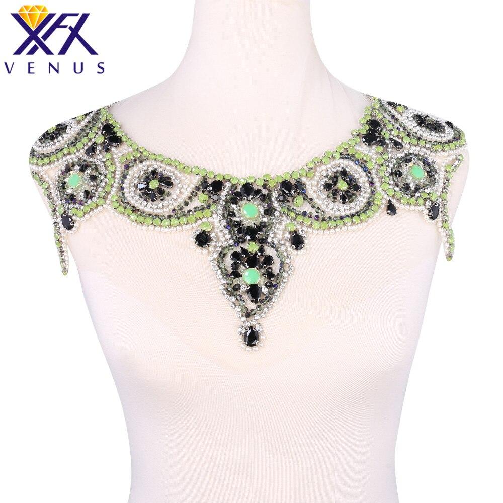Xfx 1 pcs diy 웨딩 드레스 넥 밴드 퀼트 트리밍에 바느질 스팽글 라인 석 칼라 크리스탈 아플리케 디자인에 수제 봉제-에서패치부터 홈 & 가든 의  그룹 2