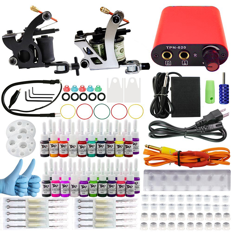 Complete profession Tattoo kits 10 wrap coils 2 guns machine 40 tattoo ink sets power supply disposable needle clip cord professional tattoo kit 5 guns complete machine equipment sets teaching cd ink for beginners body art beauty tools tk 2509 m