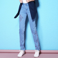 2018 Spring And Autumn New Arrival Slim Thin Pencil Pants Water Soluble Flower Lace Light Blue