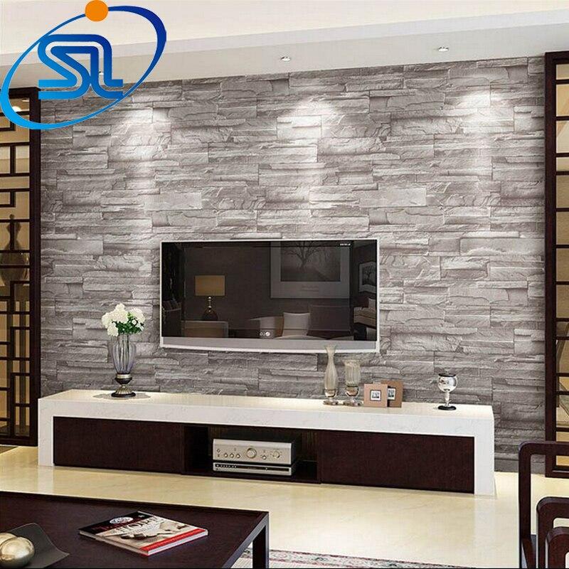 Gratis verzending 3d behang steen baksteen ontwerp achtergrond muur vinyl behang moderne voor - Modern muur steen ...