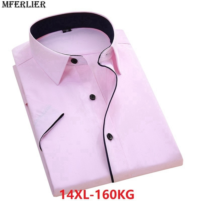summer larger plus big size 9XL 7XL shirts men 8XL 10XL 14XL work Business Pink short sleeve Dress shirts wedding 11XL 12XL 13XL 4