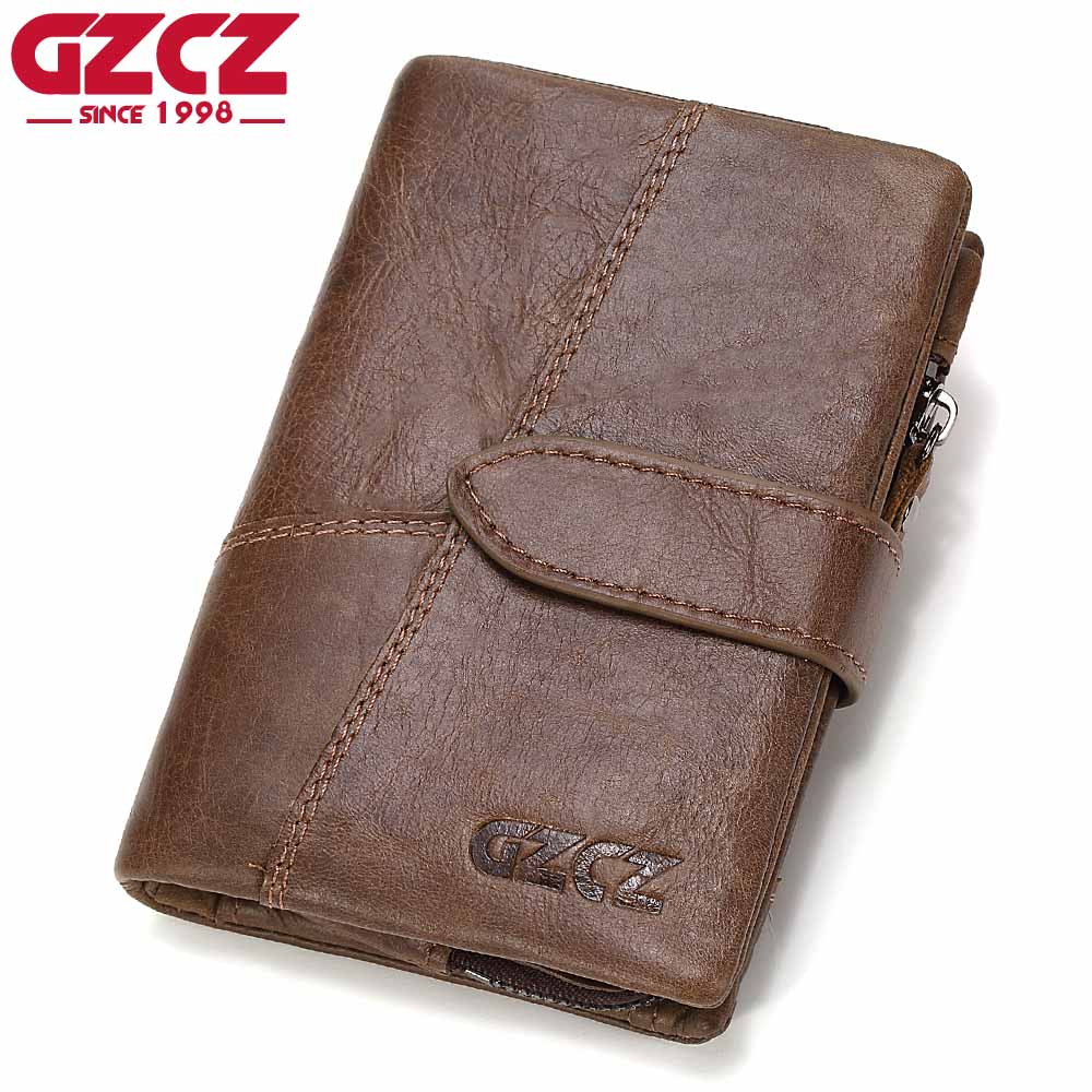 GZCZ Genuine Leather Retro Men Wallets High Quality Famous Bs
