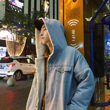 2017 Winter Korean Style Thicken Trench Lamb Hooded Hat Brand Casual Men In Warm Loose Coat Parka Men's Snow Denim Jackets M-2XL