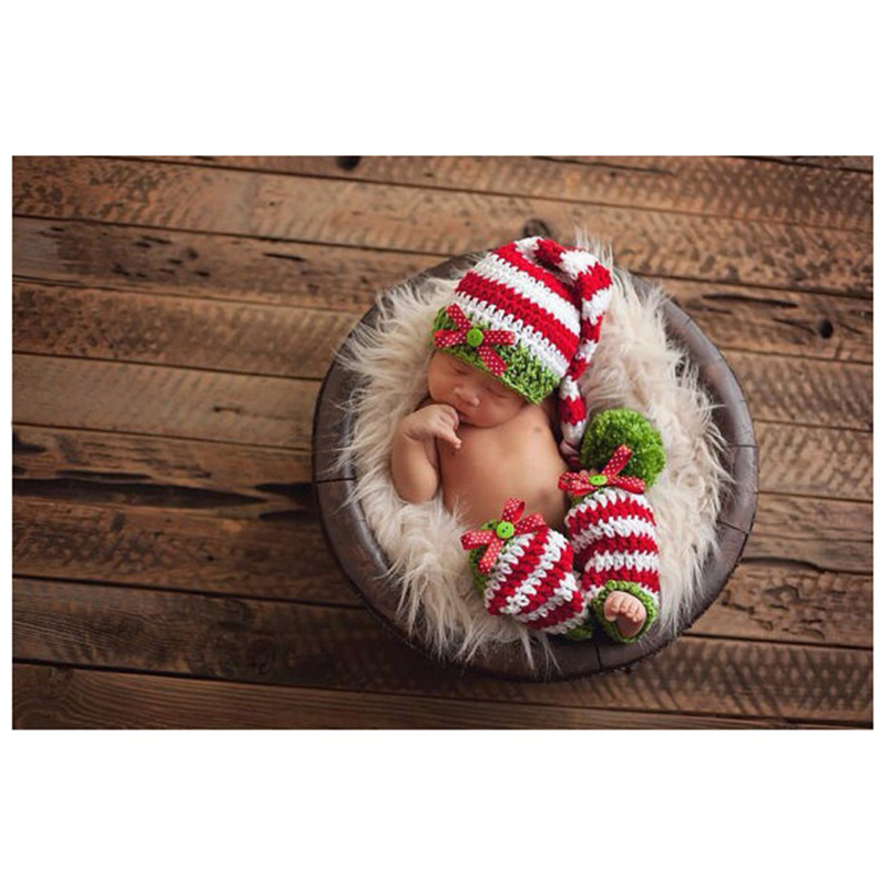 LCLL-New baby clothing Knitting cap Handmade infant hat baby Knit crochet set long tail stripe Hat+Pants newborn photography p