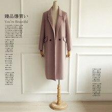 Purebliss 2017 100 cashmere pink green wool blend long winter long maxi elegant coat jacket women woolen coat for women overcoat