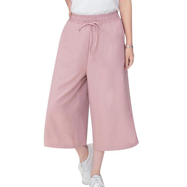 Pants Women 2017 Summer Seven Pants Casual High Waist Elastic Wide Leg Pants Chiffon Solid Fashion Trousers Plus Size XL 5 Color