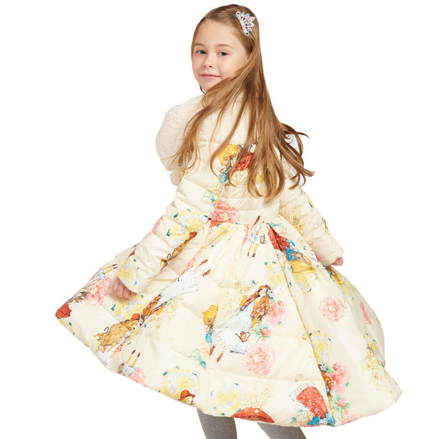 Детская зимняя куртка для Пуховик для девочек толстые Новинка 2017 года бренды принцесса теплый длинное пальто Детская одежда Размеры на возраст 6, 8, 10, 12 лет 14 лет