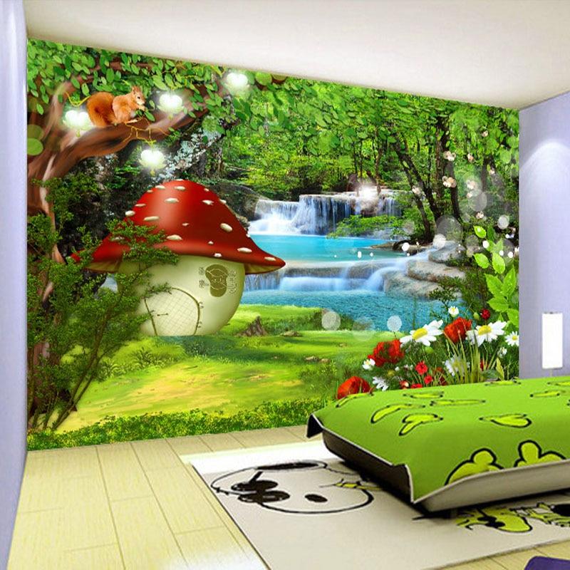 beibehang Custom 3D Photo Wallpaper For Kids Room Cartoon Children Room Green Forest Decoration Mural Backdrop Wallpaper For mural large mural children s room green 3d wallpaper tv backdrop bedroom woven 3d wallpaper cars cartoon