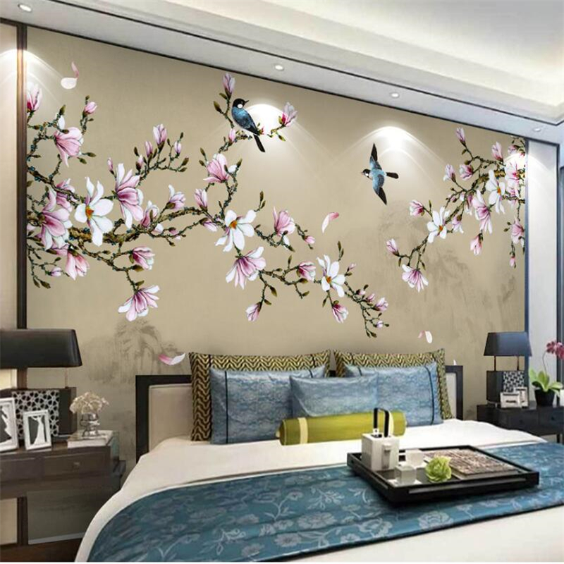 Beibehang Magnolia Hand-painted Brush Flowers And Birds New Chinese Custom Wall Mural Green Wallpaper Papel De Parede