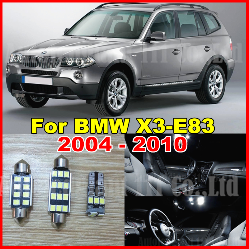 WLJH 13x Pure White Canbus No Error Free LED Car Light for BMW X3 E83 LED Interior light LED Kit 2004-2010 auxito 13x pure white canbus car dome glove map license trunk bonus spare light led interior light kit for bmw x3 e83 2004 2010