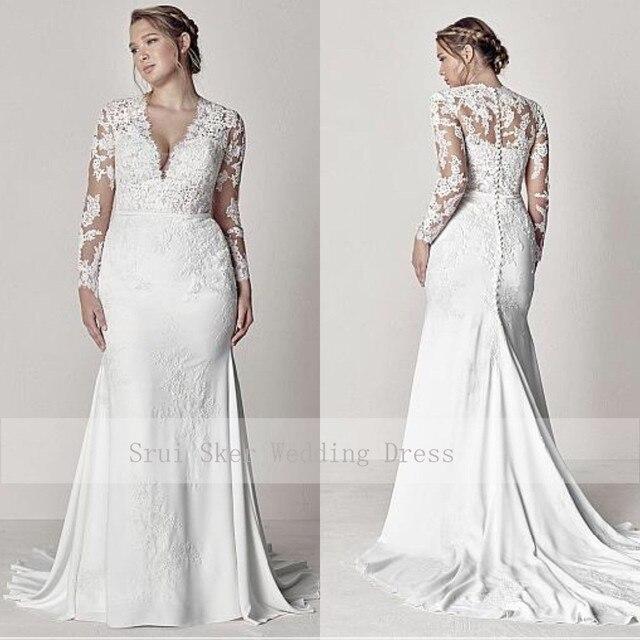 Modest V-Neck Lace Wedding Dresses Long Sleeve Illusion Appliques Mermaid Plus Size Bridal Gowns 2019 1