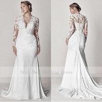 Скромные кружевные свадебные платья с v-образным вырезом и длинным рукавом, иллюзия, Аппликации, Русалка, большие размеры, свадебные платья, ...