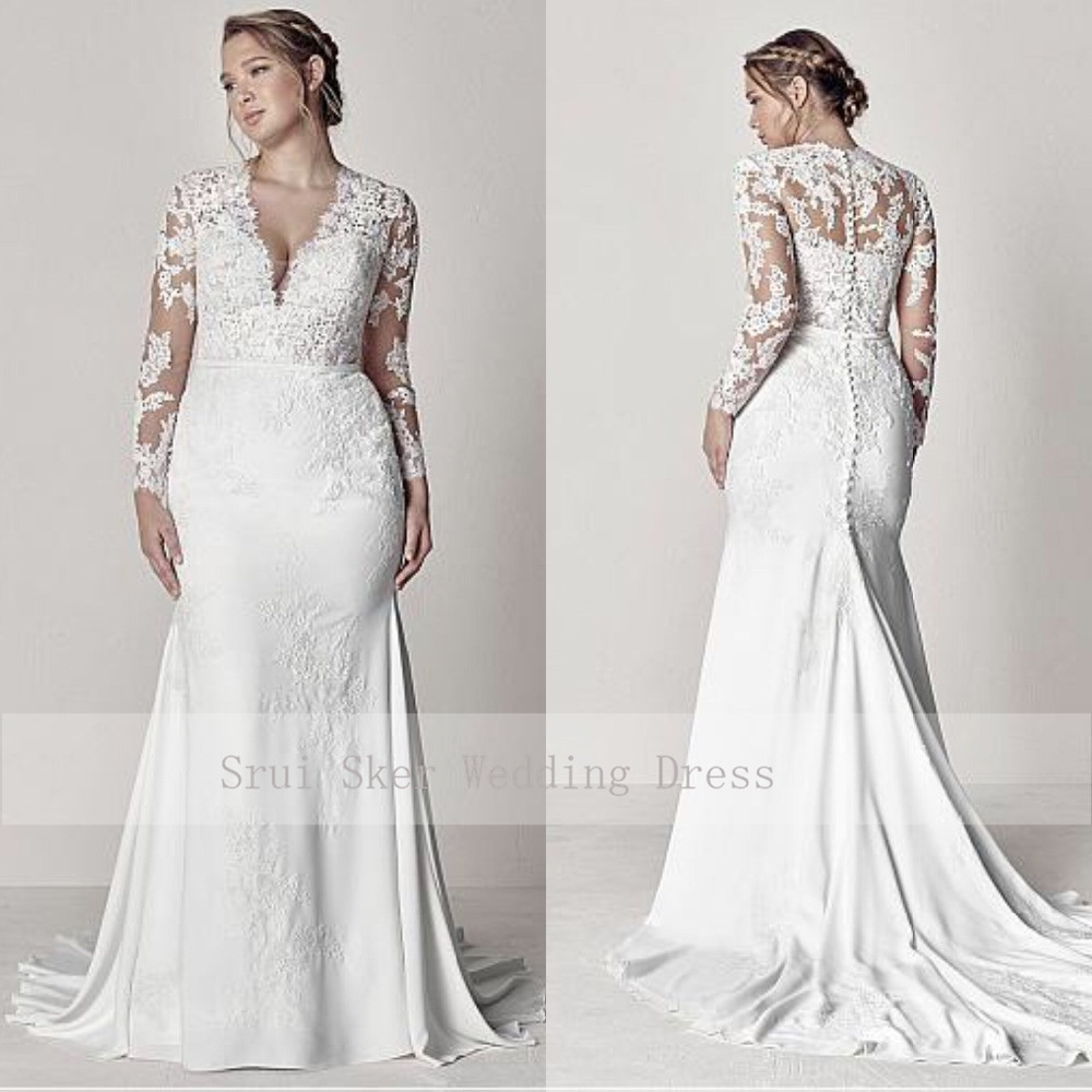 Modest V-Neck Lace Wedding Dresses Long Sleeve Illusion Appliques Mermaid Plus Size Bridal Gowns 2019