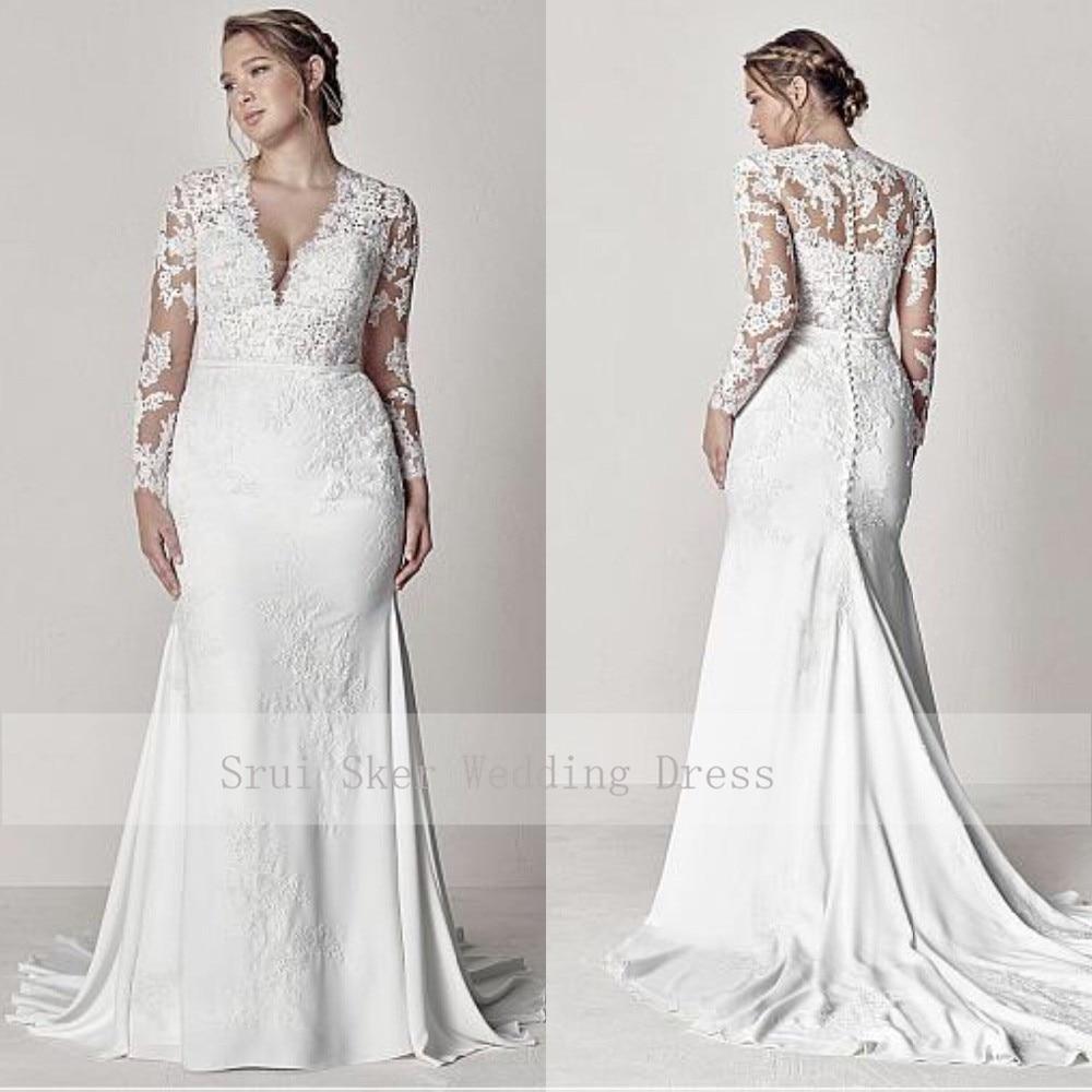 Modest V-Neck Lace Wedding Dresses Long Sleeve Illusion Appliques Mermaid Plus Size Bridal Gowns 2019