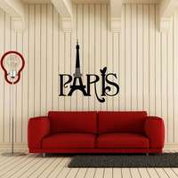 Free Shiping Diy Vinyl Home Decor Wall Sticker Paris English Carved Sitting Room The Bedroom Decorates