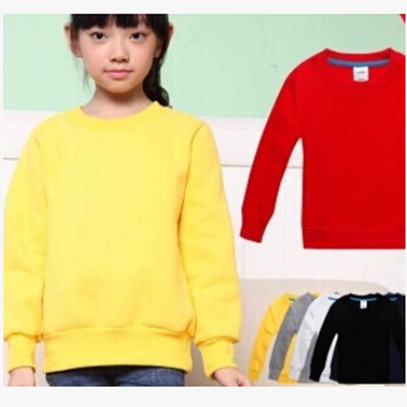 Retail & Wholesale Spring Autumn Children Sweatshirt Baby Boys Girls Cotton Long-Sleeve Pullover Kids Casual Tops Solid Color