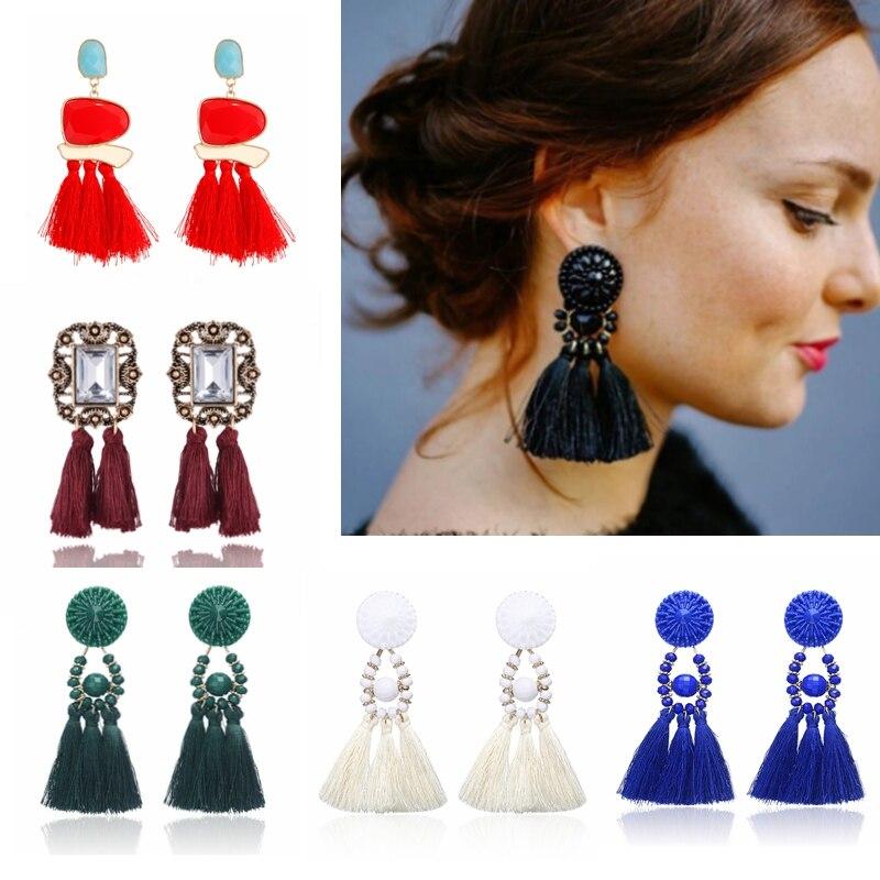 2018 Brincos Women Brand Boho Drop Fringe Earring Vintage ethnic Statement Tassel earrings Charms fashion jewelry A57