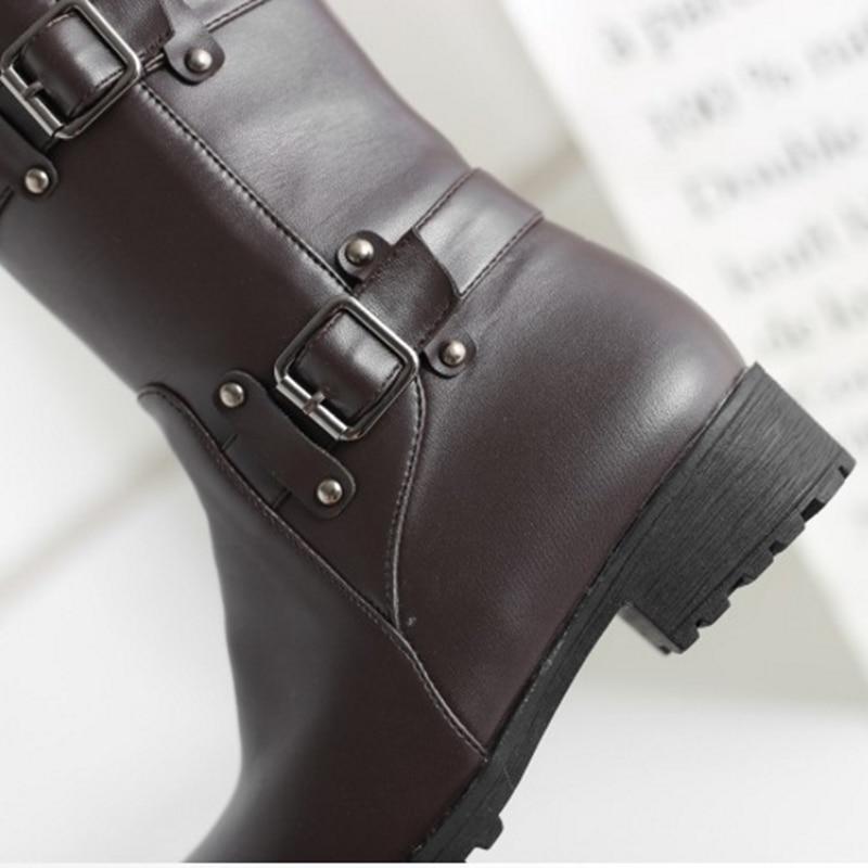 Calidad Botas Zapatos Invierno Mujeres Negro Cuero blanco De Marca Cálido Alta Peluche Maziao Tamaño Felpa Más Grande Las Hebillas brown xWnnzSC