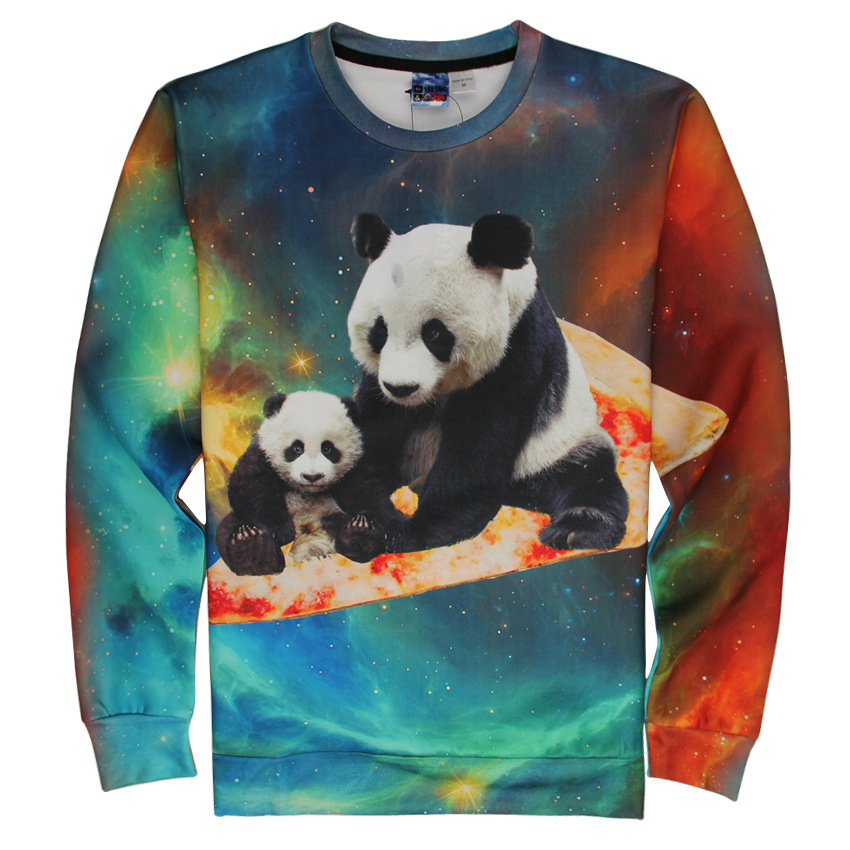 Unisex Mother And Baby Panda 3D Printing Long-Sleeve Roud-Neck Hoodies Women Men Casual Lover Couple Top